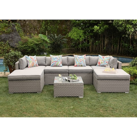 COSIEST 7-Piece Outdoor Furniture Wicker Sectional Sofa With Cushions
