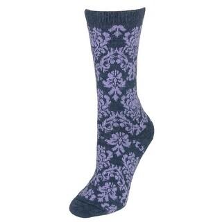 Wise Blend Women's Damask Floral Wool Blend Socks