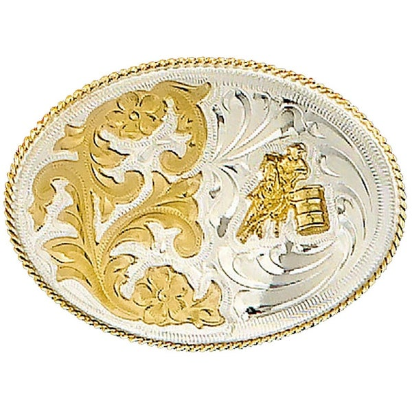 German Silver Tone Belt Buckle with Barrel Racing Detail - One size