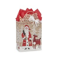 "Pack of 25, Cub Woodland Santa Kraft Bags 8 x 4.75 x 10.25"" For Christmas Packaging, 100% Recyclable,"