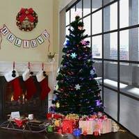 Costway 5FT Pre-Lit Fiber Optic Artificial Christmas Tree w/Multicolor Lights Snowflakes