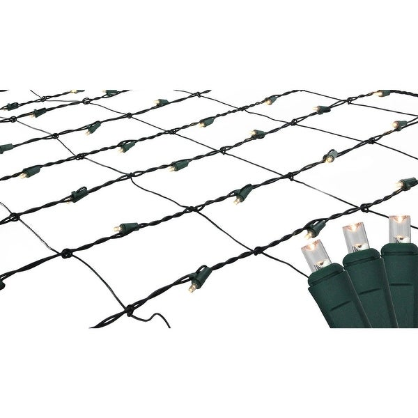 Set of 150 Warm White LED Net Mesh Christmas Lights - Green Wire - CLEAR