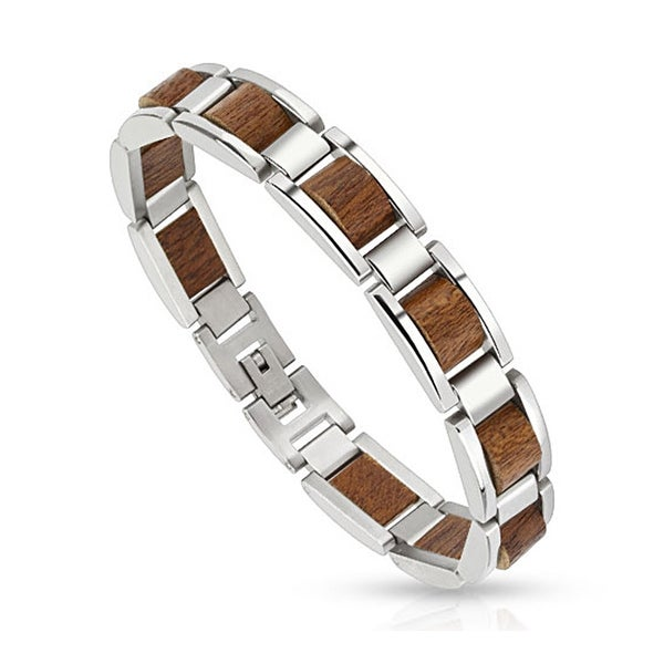 Scalloped Wood Pieces in Stainless Steel Frame Bracelet (12 mm) - 9 in
