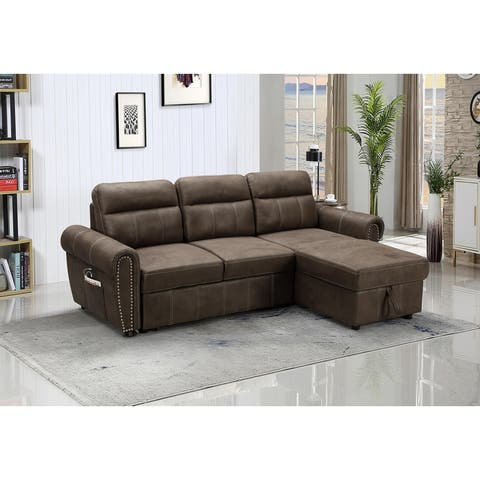 Hugo Brown Reversible Sleeper Sectional Sofa Chaise with USB Charger