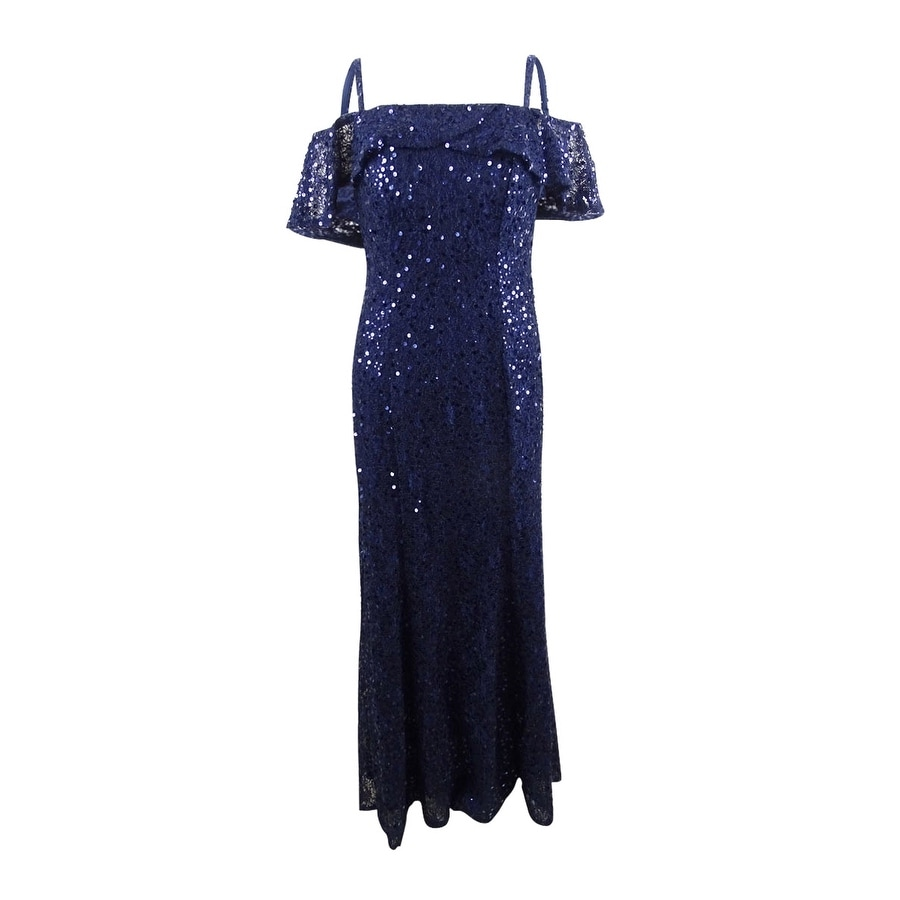 Nightway Womens Sequined Cold-Shoulder Gown - Navy