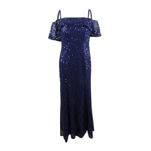 Nightway Women's Sequined Cold-Shoulder Gown - Navy
