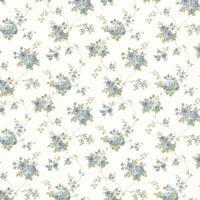Brewster 347-68846 Drury Blue Blooming Floral Trail Wallpaper