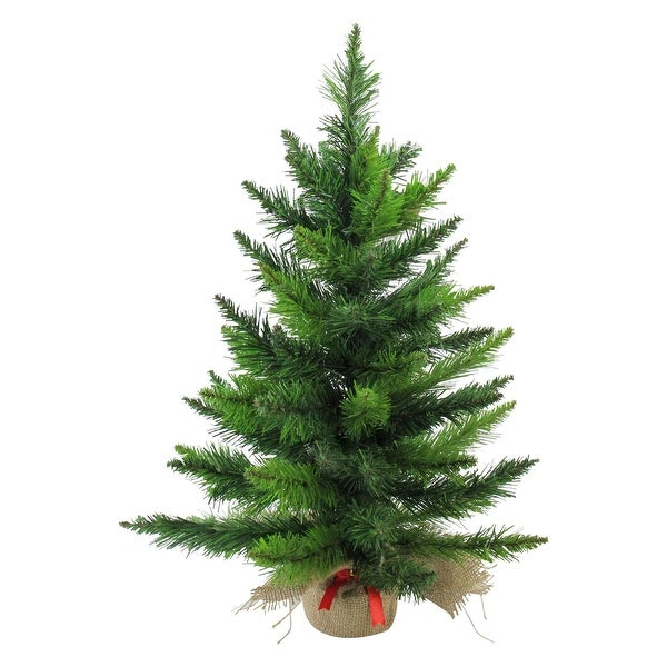 """24"""" Mini Balsam Pine Artificial Christmas Tree in Burlap Base - Unlit - green"""