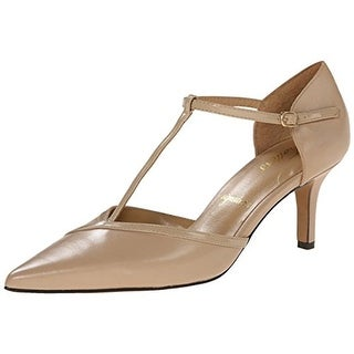 Trotters Womens Amelia Leather Pointed Toe T-Strap Heels - 6.5 wide (c,d,w)