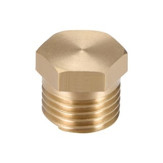 "Brass Pipe Fitting, Cored Hex Head Plug 1/4""G Male Thread Connector Coupling - 1/4"" G 1pcs"