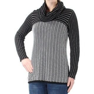 CALVIN KLEIN $89 Womens New 3414 Black White Striped Long Sleeve Sweater M B+B