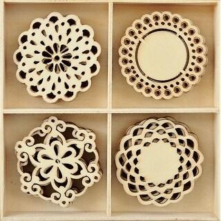 Themed Mini Wooden Flourishes 20/Pkg-Doilies