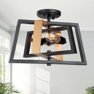 "Modern 2-light Flush Mount Geometric Light Fixture with Black Rotatable Frame - W16"" xH11"""