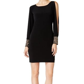 Calvin Klein NEW Black Women's Size 4 Cold-Shoulder Knit Sheath Dress