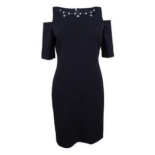 Jessica Howard Women's Petite Embellished Cold-Shoulder Dress - Black