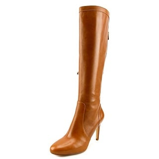 Nine West Hold Tight Women Round Toe Leather Brown Knee High Boot