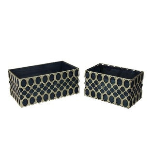 "Set of 2 Blue and Gold Geometric Metal Trim Rectangular Indoor Planter 12"" - N/A"