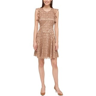 Tommy Hilfiger Womens Party Dress Lace Overlay Flutter Sleeves