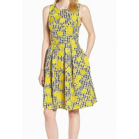 1901 NORDSTROM Yellow Black Checked Print 20 Pleated A-Line Dress