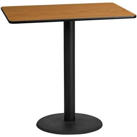 "Dyersburg 30'' x 48'' Rectangular Natural Table Top w/42""H Round Base"
