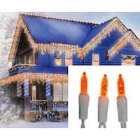 Set of 70 Orange Gold LED M5 Icicle Christmas Lights - White Wire