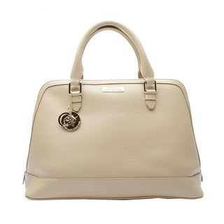 Versace Collection Leather Top Handle Satchel Handbag - Tan - M
