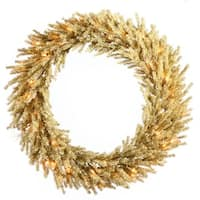 "24"" Pre-Lit Sparkling Champagne Artificial Christmas Wreath - Clear Lights - GOLD"