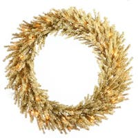 "30"" Pre-Lit Sparkling Champagne Artificial Christmas Wreath - Clear Lights - GOLD"