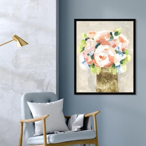 Oliver Gal 'Coral Peonies' Floral and Botanical Wall Art Framed Print Florals - Orange, Gold