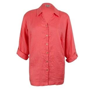 JM Collection Women's 100% Linen Tab Sleeve Shirt