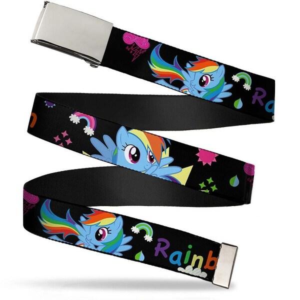 Blank Chrome Buckle Rainbow Dash W Face Close Up Black Webbing Web Belt
