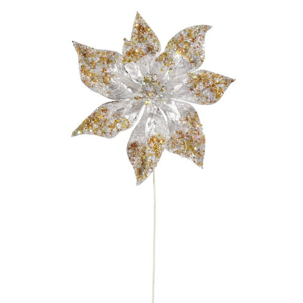 "24"" Silver and Gold Glitter Beaded Poinsettia Flower Artificial Christmas Spray Pick"