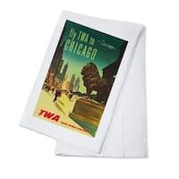 TWA - Chicago USA c. 1950 - Vintage Advertisement (100% Cotton Towel Absorbent)