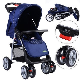 Costway Foldable Baby Kids Travel Stroller Newborn Infant Buggy Pushchair Child Blue