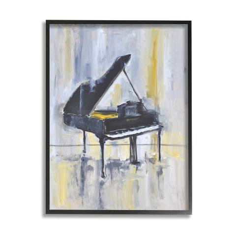 Stupell Industries Distressed Grand Piano Instrument Blue Gold Framed Wall Art