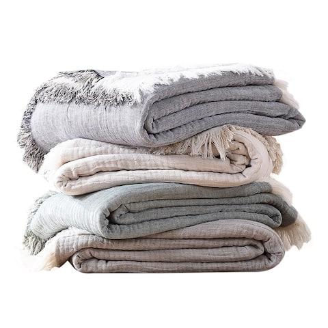 Brielle Home Denver Reversible Cotton Gauze Throw Blanket