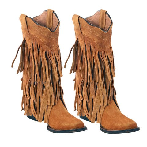 TANNER MARK Suede Leather Western Toe Boot Fringe Buttercup-Size 7.5