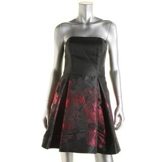 Aqua Womens Metallic Jacquard Semi-Formal Dress
