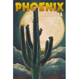 Phoenix, Arizona - Cactus & Full Moon - Lantern Press Artwork (Playing Card Deck - 52 Card Poker Size with Jokers)