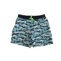 Jake Austin Boys Aqua Navy Shark Print Adjustable Waist Swim Shorts