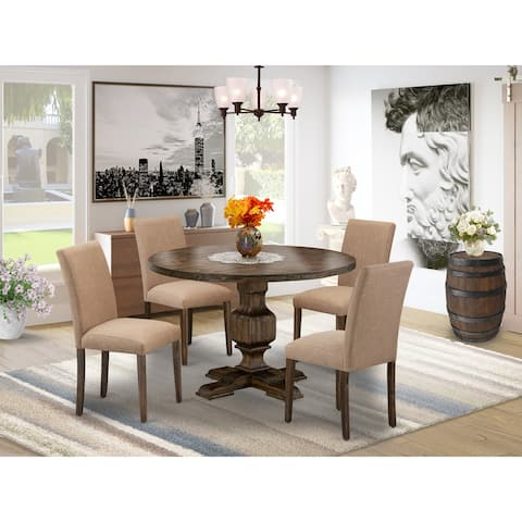 East West Furniture Dining Set Includes a Dining Table and Light Sable Linen Fabric Dining Chairs - Distressed Jacobean Finish