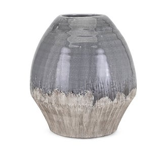 Crackle Texture Ceramic Vase with Tapered Bottom, Large, Gray and Beige