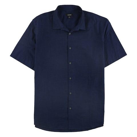 Alfani Mens Textured Button Up Shirt, Blue, X-Large