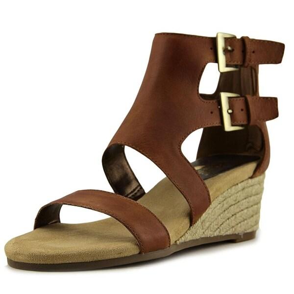 Aerosoles Cyberspace Women Open Toe Leather Brown Wedge Sandal