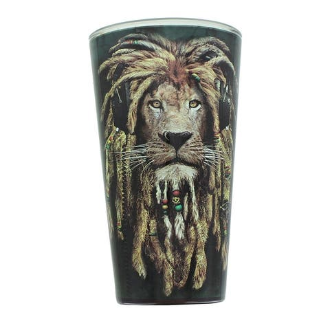 Reggae Jahman Lion 16oz Pint Glass - Black