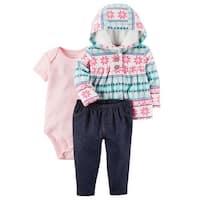 Carter's Baby Girls' 3-Piece Little Jacket Set- Fair Isle- 18 Months - fair isle aqua/pink