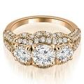 1.75 cttw. 14K Rose Gold Milgrain 3-Stone Round Cut Diamond Engagement Ring - Thumbnail 0