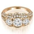2.25 cttw. 14K Rose Gold Milgrain 3-Stone Round Cut Diamond Engagement Ring - Thumbnail 0