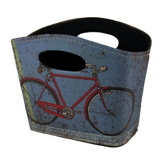 Vintage Bicycle Decorative Faux Leather Hard Sided Storage Basket 8 Inch