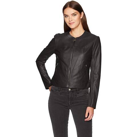 Via Spiga Women's Collarless Leather Jacket, Black/Ponte Back, Large